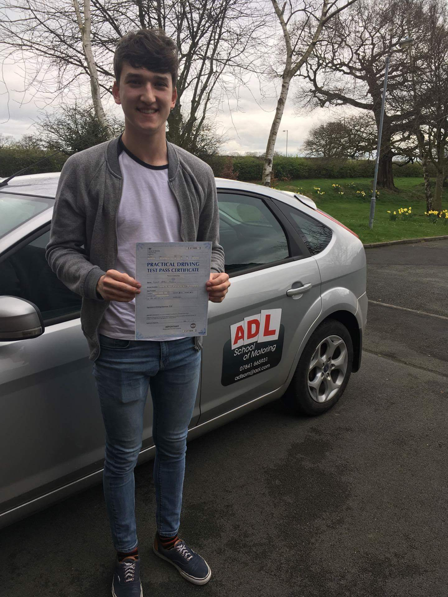 Mr Luke Morris passing his test at Wrexham driving test centre.